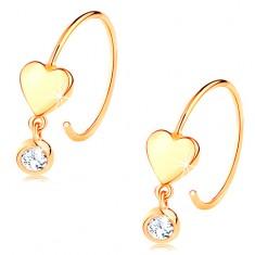 Cercei din aur galben de 14K - cerc îngust neted, inimă lucioasă și zirconiu transparent