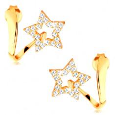 Cercei din aur galben de 14K - panglică ondulată cu contur stea strălucitoare
