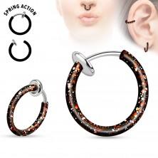 Piercing fals din oțel pentru nas sau ureche, cerc stropit cu culoare
