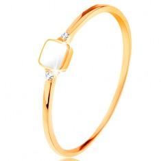 Inel realizat din aur galben de 14K - pătrat cu smalț alb, zirconii mici transparente
