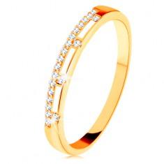 Inel din aur galben de 14K - linie din zirconii transparente, dungi de email alb