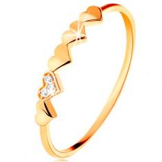 Inel din aur galben de 14K - inimioare strălucitoare, zirconii transparente