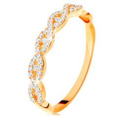 Inel strălucitor din aur galben de 14K - brațe despicate împletite, zirconii