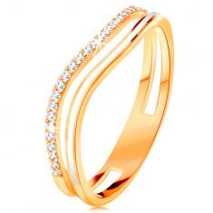 Inel realizat din aur galben de 14K, brațe curbate cu decupaj la mijloc, email și zirconii