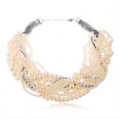 Colier masiv realizat din perle albe de diverse mărimi și zirconii transparente