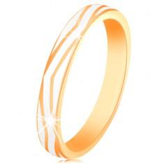 Inel din aur 585 - linii curbate de email alb lucios, suprafață netedă
