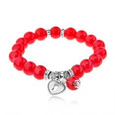 Brățară flexibilă realizată din bile roșii lucioase, mărgele din oțel, lacăt-inimă
