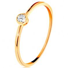 Inel realizat din aur galben 585 - zirconiu rotund, transparent, în montură lucioasă