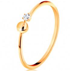 Inel realizat din aur galben de 14K - brațe lucioase ce se termină cu bilă și zirconiu transparent