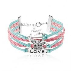 Brăţară din şnururi, albastru şi roz, ancoră, fluture, plăcuţă cu inscripţie