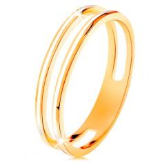 Inel realizat din aur galben de 585, două cercuri înguste, împodobite cu email alb