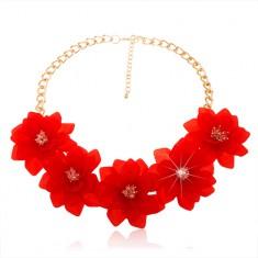 Colier statement, lanţ de culoare aurie, flori roşii mari, închidere de tip cleşte de homar