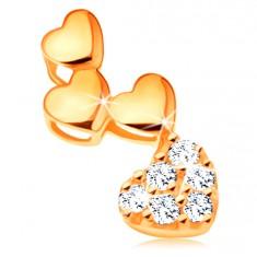 Pandantiv din aur de 14K - grup de trei inimi lucioase și una din zirconiu