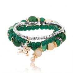 Brăţară multiplă cu mărgele - trei brățări, culoare verde-smarald, zirconii transparente