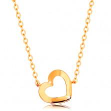 Colier realizat din aur galben de 14K - contur lucios de inimă, lanț subțire