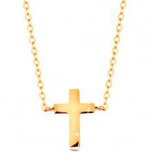 Colier realizat din aur galben 585 - cruce Latină mică, lanţ lucios