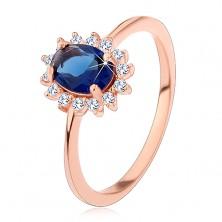 Inel din argint 925 de culoarea cuprului, zirconiu oval albastru închis în cerc transparent
