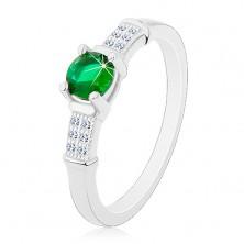 Inel de logodnă, argint 925, braţe din zirconiu, zirconiu verde rotund