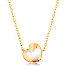 Colier din aur 585 - inimă lucioasă cu email alb, lanţ