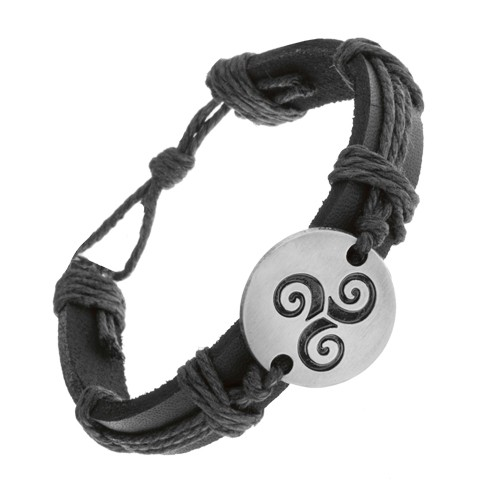 Bijuterii eshop - Brăţară realizată din piele neagră, sintetică şi şnururi, cerc cu model tribal negru în spirală Z22.01