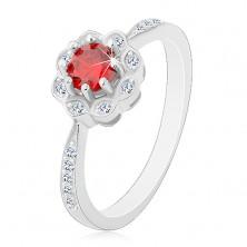 Inel din argint 925 placat cu rodiu, floare lucioasă cu zirconiu roşu-portocaliu