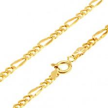 Lanț aur galben 14K - trei ochiuri ovale, o za mai lungă plată, 500 mm