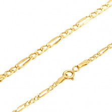 Lanț lucios din aur 585, trei zale ovale, ochiuri plate alungite, 485 mm