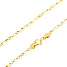 Lanț din aur galben 14K - trei ochiuri și un cerc alungit, 445 mm