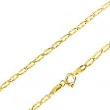 Lanț din aur galben 14K - zale plate alungite, raze canelate, 440 mm