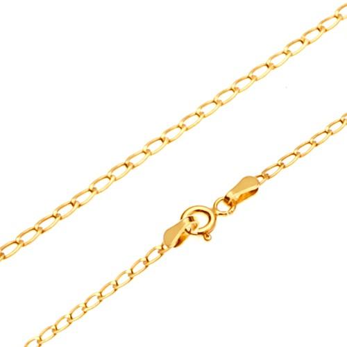 Bijuterii eshop - Lanț din aur galben 14K - zale ovale plate lucioase, 445 mm GG170.02