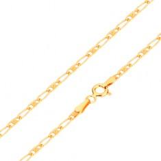 Lanț realizat din aur galben de 14K - zale ovale - goale în interior și cu grid, 440 mm