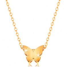 Colier din aur de 14K - lanţ lucios, fluture mic cu suprafață netedă