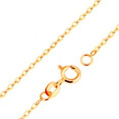 Lanţ realizat din aur galben de 9K - zale ovale netede, model Rolo, 500 mm