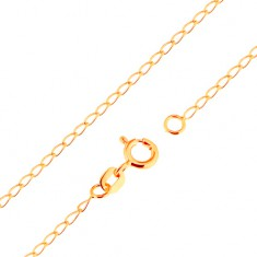 Lanț realizat din aur galben de 18K - zale ovale plate, lucioase, 500 mm