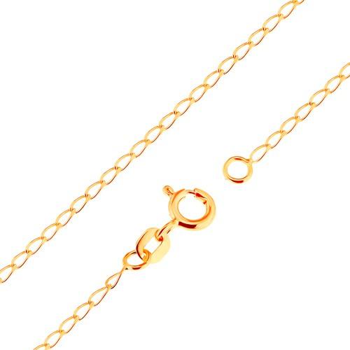 Bijuterii eshop - Lanț realizat din aur galben de 18K - zale ovale plate, lucioase, 500 mm GG171.02