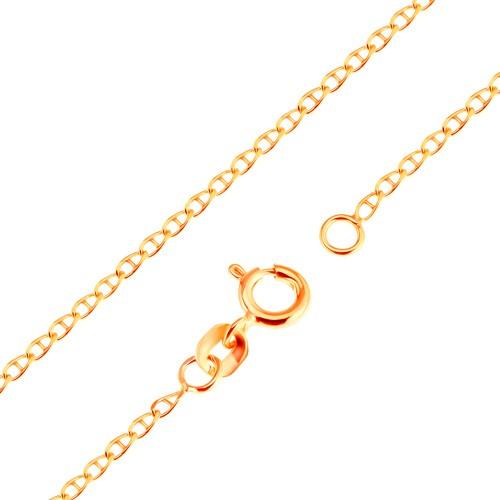 Bijuterii eshop - Lanț din aur de 9K - zale mici lucioase, plate, despărțite de un pivot, 500 mm GG171.14