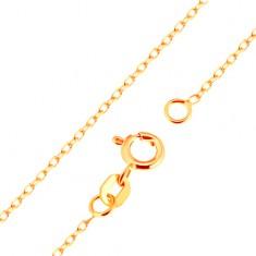 Lanţ realizat din aur galben de 18K - zale netede ovale, model Rolo, 500 mm