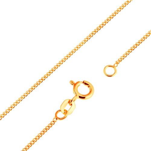 Bijuterii eshop - Lanţ din aur de 18K - zale ovale plate, unite dens, 500 mm GG171.01