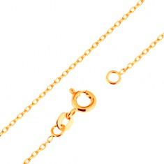 Lanţ realizat din aur galben de 9K - zale netede ovale, model Rolo, 500 mm