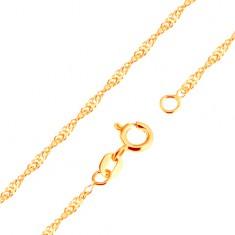 Lanț din aur 375 - spirală formată din zale lucioase ovale plate, 500 mm