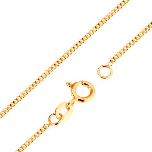 Bijuterii eshop - Lanţ din aur de 9K - zale ovale plate, unite dens, 500 mm GG172.01