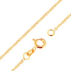 Lanț din aur 750 - zale strălucitoare ovale, unite, 500 mm