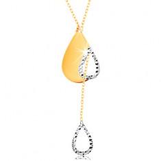 Colier din aur de14K - lanț subțire, lacrimă cu decupaj și contur de picătură atârnat
