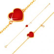Brățară din aur de 14K - inimă roșie emailată și zirconiu transparent, lanț subțire, 180 mm