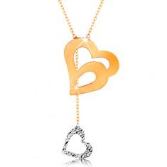 Colier din aur 585 - lanț subțire, contur dublu de inimă și inimă atârnată