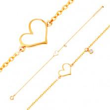 Brățară din aur 585 - inimă albă asimetrică și zirconiu transparent, lanț subțire