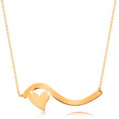 Colier realizat din aur galben de 14K - val și inimă mică simetrică, lanț subțire