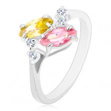 Inel de culoare argintie, zirconii roz și galbene în formă de bob, zirconii transparente
