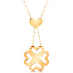 Colier realizat din aur galben 585 - lanț subțire, inimă și trifoi cu patru foi decupat