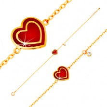 Brățară realizată din aur galben de 14K, pandantive - inimă cu email roșu, zirconiu
